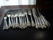 WALLACE STERLING SILVER OLD GRANDE BAROQUE 48 PIECES SET PERFECT CONDITION