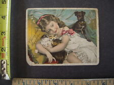 Victorian Trade Card - Girl Dog and Cat for Scott & Bowne Cherry Malt Phosphites