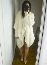100% Real Genuine Knitted Rabbit Fur Jacket Coat Cape Poncho Ladies Vintage -510