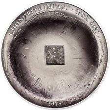 2015 Cook Islands, Chondrite Impact, NWA 4037 meteorite coin! $5 silver + box!
