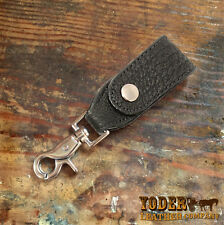 Black Shark Skin Leather Key Hanger - Handmade to Order Genuine Sharkskin