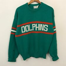 VTG 80s Cliff Engle Miami Dolphins Sweater Mens SZ M NFL Football Throwback