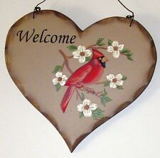 Rustic Country Bird Plaque Welcome Heart Cardinal New