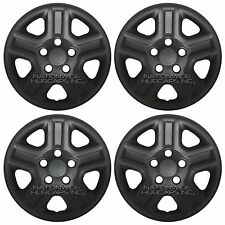"4 FLAT MATTE BLACK 07-16 Jeep Wrangler 16"" Wheel Skins Hub Caps Full Rim Covers"