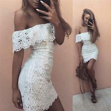 New Women Off Shoulder Sexy Lace Bodycon Party Dress Evening Cocktail Mini Dress