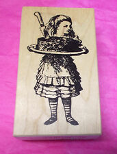Queens Ink Alice holding Cake rubber stamp 1525-F Her Majesty wood mounted New