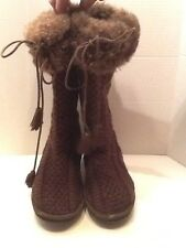 LL Bean Brown Cable Knit Fleece Lined Boots Size 6 Fur Top Tall Boots Pre Owned