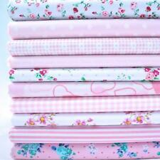 REMNANTS - 10 FAT QUARTERS PASTEL PINKS FLORAL BUNDLE POLY COTTON FABRIC *