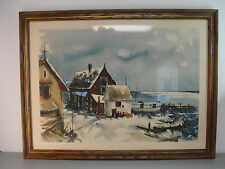 WHARF PORT SEA DOCK PIER IMPRESSIONIST WATERCOLOR WALL HANGING WOOD FRAME 23x31