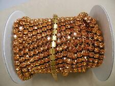 2 ft.swarovski xilion rhinestone chain,29ss topaz #1028/unplated brass