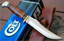 "COLT 10"" HUNTING KNIFE STACKED LEATHER HANDLE with LEATHER SHEATH CT295 NEW"