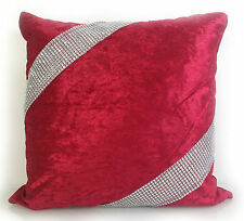 cushions cushion covers SET OF 4 Large DIAMANTE LACE/CROSS LACE crush velvet