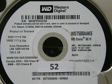 750 GB Western Digital WD7500AAKS-00RBA0 / HARNHA2ABB / OCT 2007 Hard Disk #02