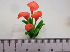 1:12th Orange Calla Lily Flowers Doll House Miniatures Flowers , Garden (op)