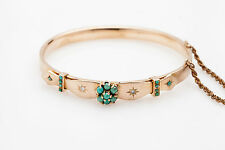 Antique Victorian 1860s 5ct Turquoise Old Euro Diamond 14k Gold Bangle Bracelet