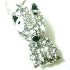 White gold pt french bull dog CRYSTAL necklace pendant-English Terrier pet puppy