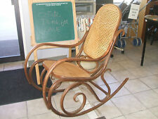 Rocking Chair Bentwoodr DoubleCircle Early 1970's Walnut Stained Original Caning