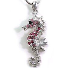 Polish Silver Tone Pink Seahorse Sea Horse Animal Pendant Necklace Design Charm