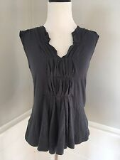 ANTHROPOLOGIE Top XS Gray Tank Pleating C.Keer