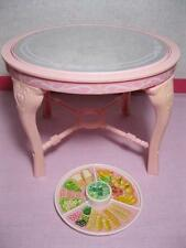 1987 vtg Barbie Sweet Roses KITCHEN Dining furniture TABLE BUFFET FOOD w Mirror