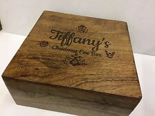 Personalised  Genuine Mango Wood  Christmas Eve Box , Engraved for your child