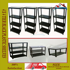 4 x NEW 4 TIER BLACK PLASTIC RACKING SHELVING SHELVES RACK STORAGE SHELF UNIT