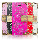Magnetic Bling Diamond Wallet Card Leather Flip Case Cover For All New Phones