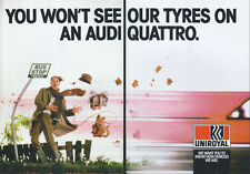 "Uniroyal Tyres ""Audi Quattro"" 1987 Magazine Double Page Advert #3761"