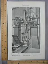 Rare Antique Orig VTG Meridienkreis Astronomy Telescope Illustration Art Print