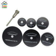 7pc Black HSS Saw Blades Cutting Cut Off Disc Wheels Set Rotary Tools for Dremel
