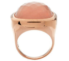 Bronzo Italia Bold Faceted Rose Quartz Cushion Shape Ring - Size 5 - QVC