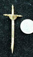Vintage DAMASCENE Spain Goldtone SWORD Shape Pin Brooch