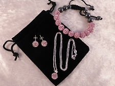 Stunning Sparkling Pink Crystal Ball Necklace, Earrings & Bracelet + Free Bag