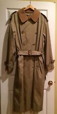 Mens Burberry Trench Raincoat Double Button W/ Zip Out Wool Lining Size 42 Long