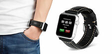 Black Leather Watch Strap Band for Apple Watch iwatch 42mm Series 1 2 Silver