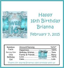 15 Sweet 16 Teal Birthday Candy Bar Wrappers
