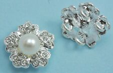 5x 2-strand Rhinestone Diamante Pearl Silver Plated Flower Connectors Joiners