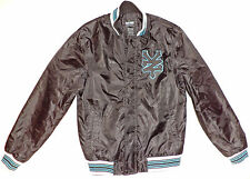 "ZOO YORK Satin BLACK ZIPPER /SNAP JACKET  ""ZY"" ON (L) FRONT     M     K#7341"