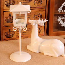 Vintage Street Lamp Design Candle Holder Tea Light Candlestick Stand - White