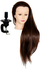 "30 "" Cosmetology Mannequin Synthetic Hair Human Head Standard Size HD"