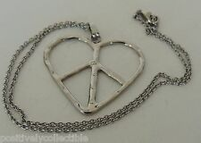 Estate Fashion Silver Plated Heart Pendant Necklace 16'