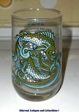 """Vintage 1976 Arby's Zodiac Drinking Glass Pisces Graphics Signed Beverly 5"""" EUC"""