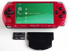 Sony PSP 3000 Red & Black Console System w Battery Feel Free To Import UMD Games
