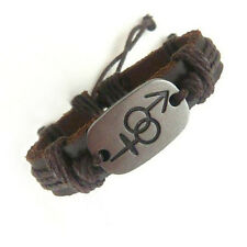Pride Shack -Transgender Pride Male & Female Symbols Brown Leather Bracelet LGBT