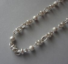 STERLING 925 MIXED CHAIN LINK NECKLACE W/ TEXTURED BEADS & TOGGLE - 43 GRAMS