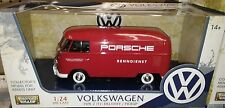 VW Bus Type 2 Volkswagen T1 Delivery Van Diecast 1:24 Motornmax 8in Red Porsche