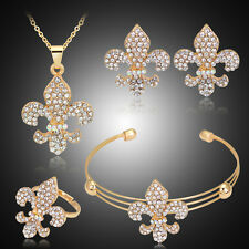 18k Gold Plated Jewelry African Costume Necklace Earrings Bracelet Ring Set #5