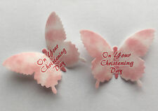 12 Pink Clouds Christening Day Rice Wafer Paper Butterflies Girl Cupcake Toppers