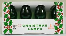 (4 Pack) of Transparent Green C-7 Light Bulbs 5 Watt Holiday Christmas Night NEW