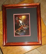 """Justin Bua Signed, Wood Framed/Double Matted Urban Art Print """"The D.J."""", 17""""x19"""""""
